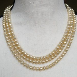 Vintage Pearl Necklace Sterling Silver Clasp